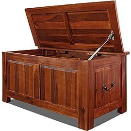 look vintage JS 14325 dimensioni XXL Cassapanca in legno con rivestimento in ecopelle di alta qualit/à 38 x 38 x 31 cm interno rivestito in tessuto colore: nero con accessori in metallo
