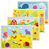 FomCcu 1-Pack Wooden Puzzles Children Jigsaw Puzzle Toddlers Educational Kids Toys for Age 3+ Random Send