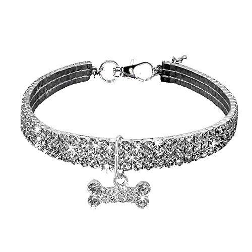 Doublehero Haustier Halsband Mode Justierbarer Bling Strass Halsband Halsbänder Fancy Halskette Kragen Schmetterling Hundehalsband Training Haustierkragen für kleine Hunde (L, Silber)