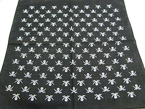 bandana Blanc Noir avec motif crâne et croix design Épée - 55 cm x 55 cm, idéal pour une utilisation quotidienne, la moto, etc.