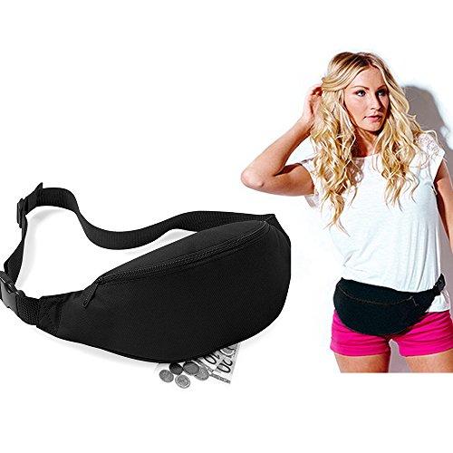 Marca nuevo negro cinturón/cintura riñonera para correr senderismo viaje al aire libre bolsa de deporte