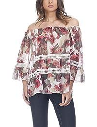 Laura Moretti - Blusa de estampado floral con lazo y bordados