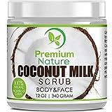 Coconut Milk Body Scrub 12 oz For Face & Body, 100% Natural By Premium Nature by Premium Nature