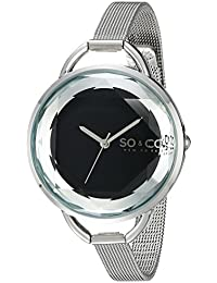 SO & CO New York 5104.2 - Reloj para mujeres, correa de acero inoxidable color plateado