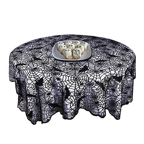 CuiXiang Halloween runde Tischdecke, Spinnennetz, Fledermaus und Pentagramm Elemente Design, Anti-Crease, langlebig, kann für Kamin, Mantel, Fenster, Tür, Stall usw. verwenden
