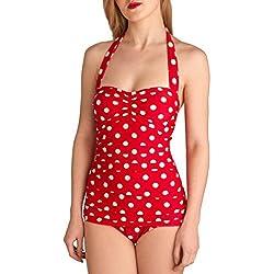 LMMVP Bikinis Mujer,Bikini de Fibra de poliéster sin Respaldo Floral Frenum de Mujer Bikini Push Up Acolchado de baño Traje de baño Sexy de una Pieza Ropa de Playa Mono Bodysuit (M, Rojo)