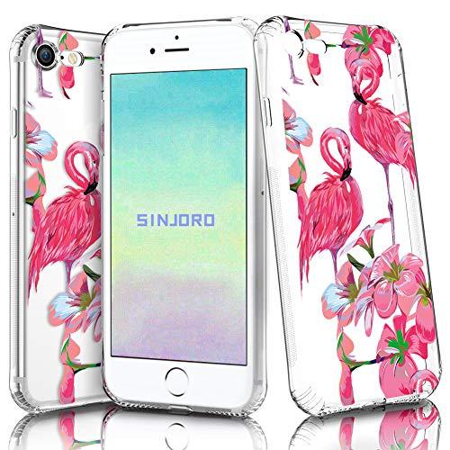 """Sinjoro iPhone 8/ iPhone 7 Hülle, Blossom Blühen Blumen Flower Muster Transparent Weiche Silikon Hülle Durchsichtig Schutzhülle für Apple iPhone 8/ iPhone 7 4,7\"""" (Flamingo#3)"""