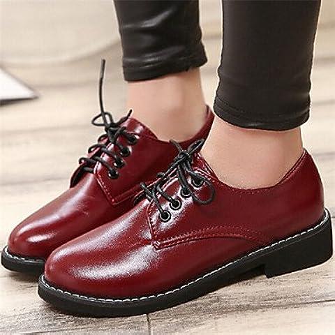Zapatos de mujer Chunky talón puntera redonda Oxfords Casual Negro/Rojo , Negro-US8 / UE39 / UK6 / CN39 , negro-US8 / UE39 / UK6 / CN39