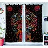 Indian Home Decor Baum des Lebens Fenster Behandlungen Vorhänge Panel Set Raumteiler Schlafzimmer Dekor handgefertigte Wand hängen Boho Tür Baumwolle Designer böhmischen Balkon schiere Mandala Vorhang