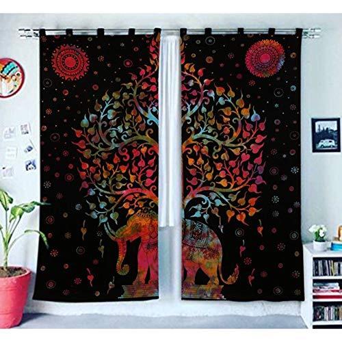 Indian Home Decor Baum des Lebens Fenster Behandlungen Vorhänge Panel Set Raumteiler Schlafzimmer Dekor handgefertigte Wand hängen Boho Tür Baumwolle Designer böhmischen Balkon schiere Mandala Vorhang (Vorhang-sets Für Schlafzimmer)