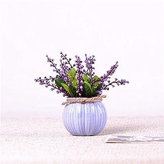 Mesmj Bouquet de Flores Artificiales Acacia Frijoles Jarrón de cerámica,Violeta