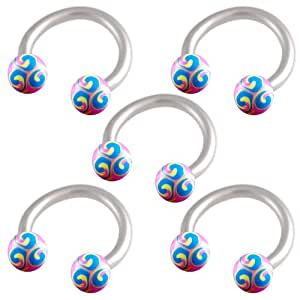 5 pcs arcade anneaux piercing fer a cheval oreille tragus acier 1 2mmx8mm peint la main. Black Bedroom Furniture Sets. Home Design Ideas