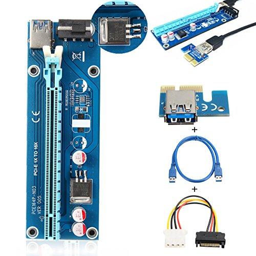 PCI-E 1X Scheda di Montaggio, ELEGIANT USB 3.0 PCI-E 1x Espresso a 16x Riser Extender (Carta Usb)