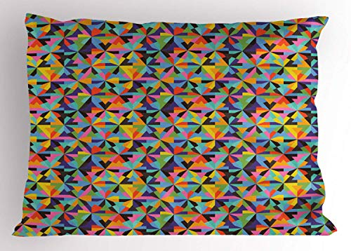 HFYZT Geometric Pillow Sham, Tangled Design of Colorful Triangular Shapes Grunge Effect Contemporary Artwork, Decorative Standard King Size Printed Kissenbezug Pillowcase, 18 X 18 Inches, Multicolor (Tangled Artworks)
