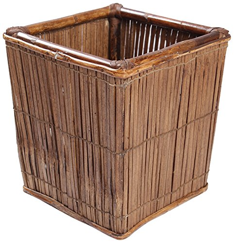 Novelty Cane Art Bamboo Split Dustbin (25.5 cm x 25.5 cm x 29 cm, Brown)