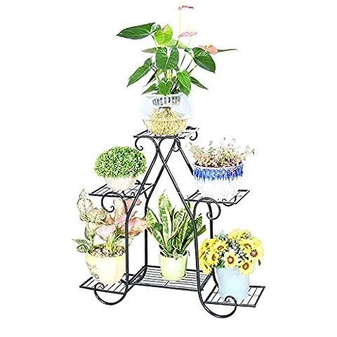 Étagère en pot en fer forgé de style européen, étagère, étagère à fleurs pour balcon, salon, cadre de bonsaï intérieur (couleur: noir, taille: