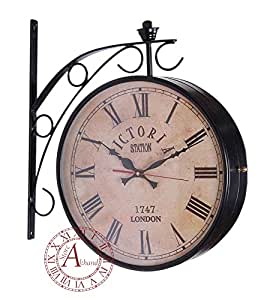 akhandstore 12 inch clock dia antique wall clock victoria metal station clock double