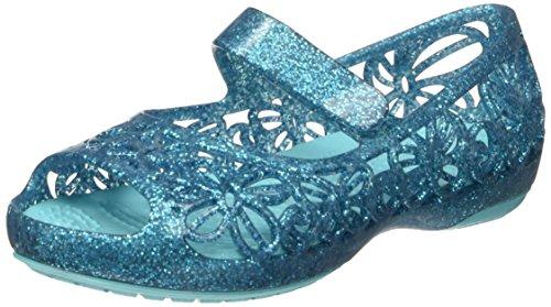 Crocs isabella glitter flat ps, ballerine bambina, blu (pool), 22/23 eu