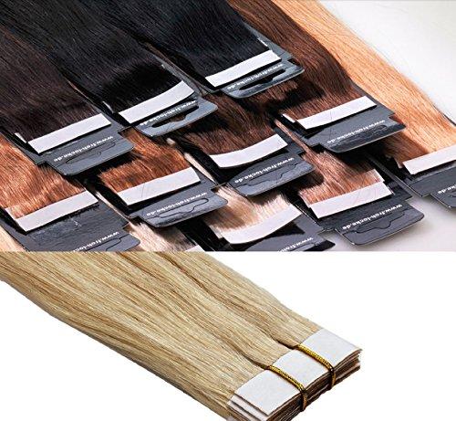 Tape In / On Echthaar Extensions Haarqualität: Virgin Remy - höchste Qualitätsstufe 50cm 10 Tressen Marke Frohlocke SALON PRO (660 - platin)