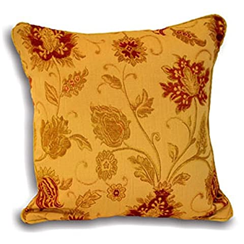 Paoletti Zurich Floral Chenille Jacquard Piped Cushion Cover, Gold, 45 x 45 Cm