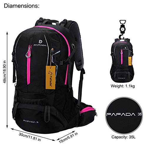 Imagen de fafada 35l unisex  de senderismo viaje marcha del deporte casual escalada trekking con cubierta de lluvia impermeable negro alternativa