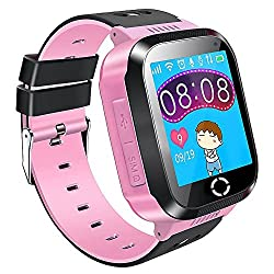 Kids Gps Smartwatch Anti-lost Smart Watch Bracelet For Children Girls Boys Christmas Gifts With Camera Flash Light Sos Call Location Pedometer Wristwatch Remote Monitor For Iphone Android (Pink)