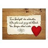 Große Glückwunschkarte zur Hochzeit XXL (A4) Rotes Herz Holz Rustikal/mit Umschlag/Edle Design Klappkarte/Hochzeitskarte/Glückwunsch/Ehepaar/Extra Groß/Vintage Romantisch/Edle Maxi Gruß-Karte