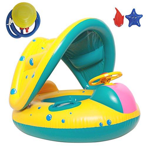 Autumn Love Verdickung PVC Schwimmhilfen Set Baby Schwimmring mit Sonnendach Luftpumpe und Badespielzeug