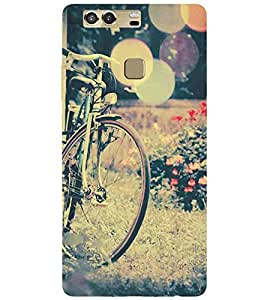 For Huawei P9 Plus vintage image, cycle, sunshine, flower Designer Printed High Quality Smooth Matte Protective Mobile Case Back Pouch Cover by APEX