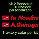 Vinilin - Pegatina Vinilo Bandera Madrid + tu Nombre - Bici, Casco, Pala De Padel, Monopatin, Coche, etc. Kit de Dos Vinilos (Rojo)