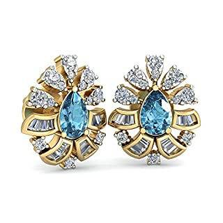 Silvernshine Jewels 1.16 Cts Round Sim Diamond & Pear Ailis Stud Cluster Earring 14K Yellow Gold Fn