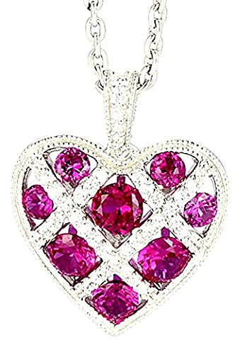 SaySure - Silver Red Heart Pendant Gem Stone Zircon CZ Diamond