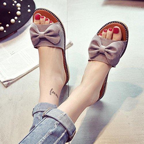 LvYuan Pantofole estive delle donne / modo casuale di modo / Bowknot / piattaforme / sandali / pattini della spiaggia gray