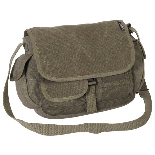Everest Luggage canvas messenger bag, Charcoal (grigio) - CT073S-CCA Olive