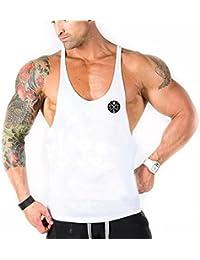 YeeHoo Deportivo Gym Camisetas Sin Manga Tank Tops de Tirantes Hombre  Suelto Chaleco Fitness Gimnasio Algodón a731327c232