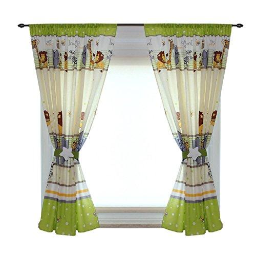 TupTam Kinderzimmer Vorhänge Set mit Zierband und Stern, Farbe: Imagine Grün, Größe: ca. 155x155 cm