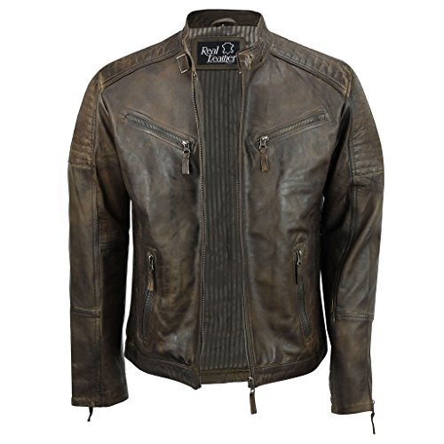 Sábana Bajera Ajustable de Piel para Hombre Real marrón Retro Motorista Vintage Urban con Cremallera Casual Chaqueta marrón marrón XXXL