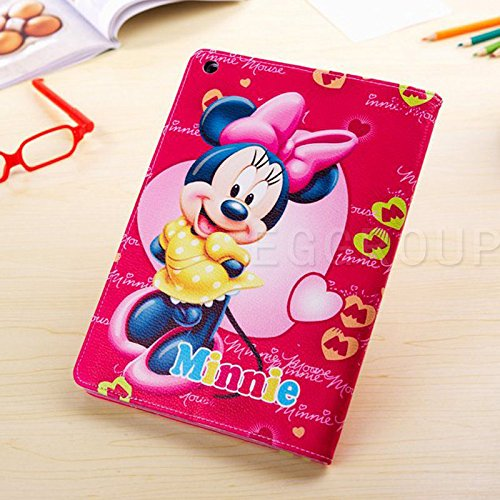 Image of iPad Mini 4 Case - Cute kids Disney Cartoon Frozen Princess Pattern Stand Up Flip Folio Case Cover for Apple iPad Mini 4 (Minnie Mouse Red Pink Case)