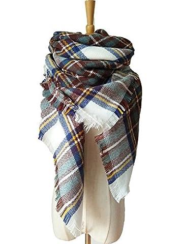 XJoel Classique allocation Plaid design Infinity Thick Knit Scarf