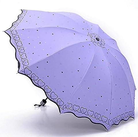 Sucastle 10 bones, vinyl, folding, umbrella, enlargement, love, wave side, sun umbrella, sunscreen, twists and turns, sunny rain, umbrella Sucastle:Colour:Lavender:size:Curvature; 122cm: handle length