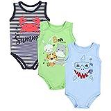 TupTam Baby Jungen Achselbody mit Aufdruck 3er Pack, Farbe: Farbenmix 1, Größe: 68