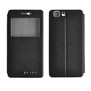 Doogee X5 X5C X5 Pro X5S with Hard Plastic Case Flip en PU cuir Etui Étui Housse Coque S-View Support Stand Stander Anti-Scratch Pu Leather Cover Case (Noir)