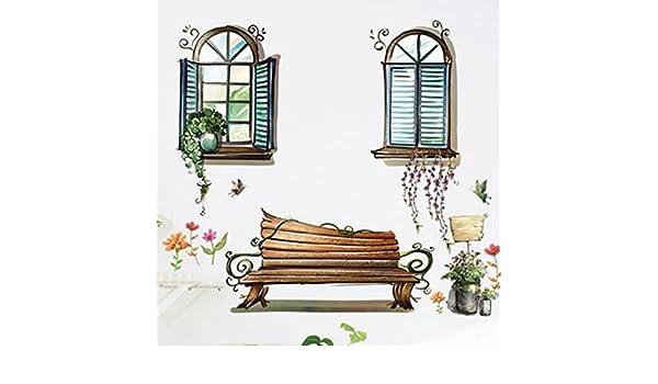 HCCY Sie Können Abnehmen Und An Der Wand Ansicht Wohnzimmer Schlafzimmer  Fenster Kopfteil Aus Glas PVC Tapeten TV Wand Sofa Aufkleber 60 * 90 Cm, ...