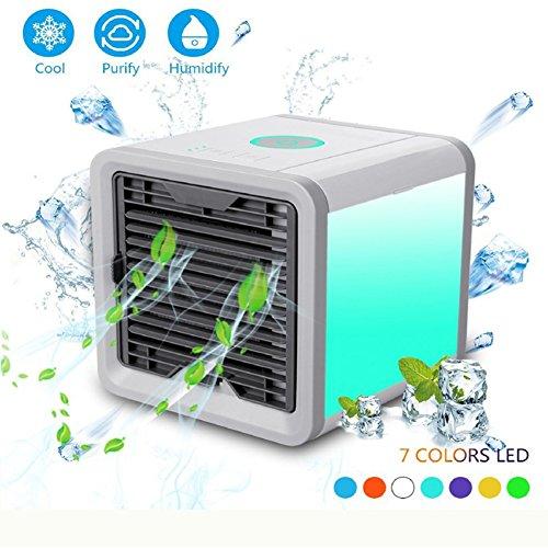 EFINNY Persönlicher Raum Luftkühler, 3 in 1 USB Mini tragbare Klimaanlage Luftbefeuchter Luftreiniger und 7 Farben Nachttisch Lüfter für Office Home Outdoor Travel