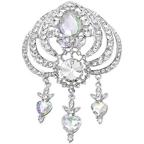 EVER FAITH® nuziale silver-tone Amore cuore spilla cristallo austriaco (Tone Cuore Spilla)