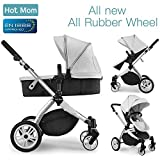 Hot Mom Multi Kinderwagen Kombikinderwagen 2 in 1 mit Buggy 2018 neues Design, Babyschale separat erhältlich - Grey