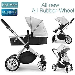 Chariot poussette Hot Mom 2018 combine avec nacelle et siège enfant 889, gris