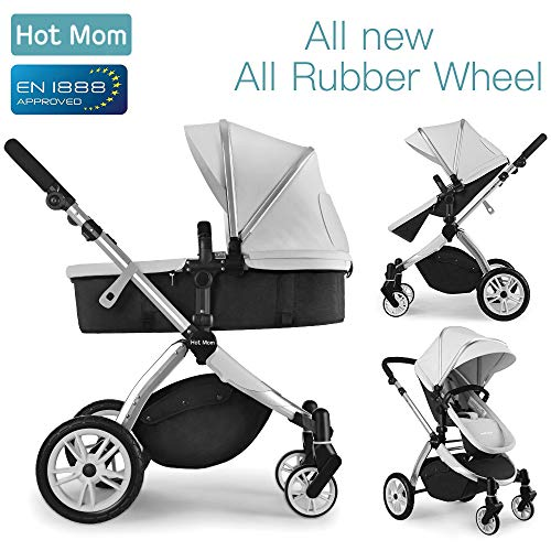 Hot Mom Multi Kinderwagen Kombikinderwagen 2 in 1 mit Buggy 2018 neues Design, Babyschale separat...