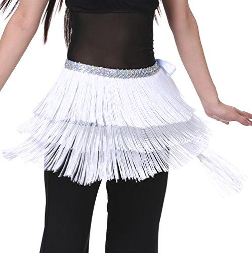 Hüfttuch Bauchtanz Tuch Samba Rock mit Fransen Tanz Kostüm Weiß S M