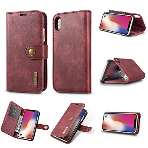 Cover iPhone X, Bestsky 2 in 1 Custodia iPhone X Portafoglio Cover di Pelle Cuoio Flip Cover Antiurto con Supporto 360 Gradi Protezione Case per Apple iPhone X, Nero Rosso